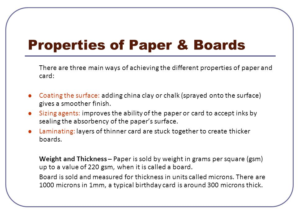 Properties of Paper & Boards