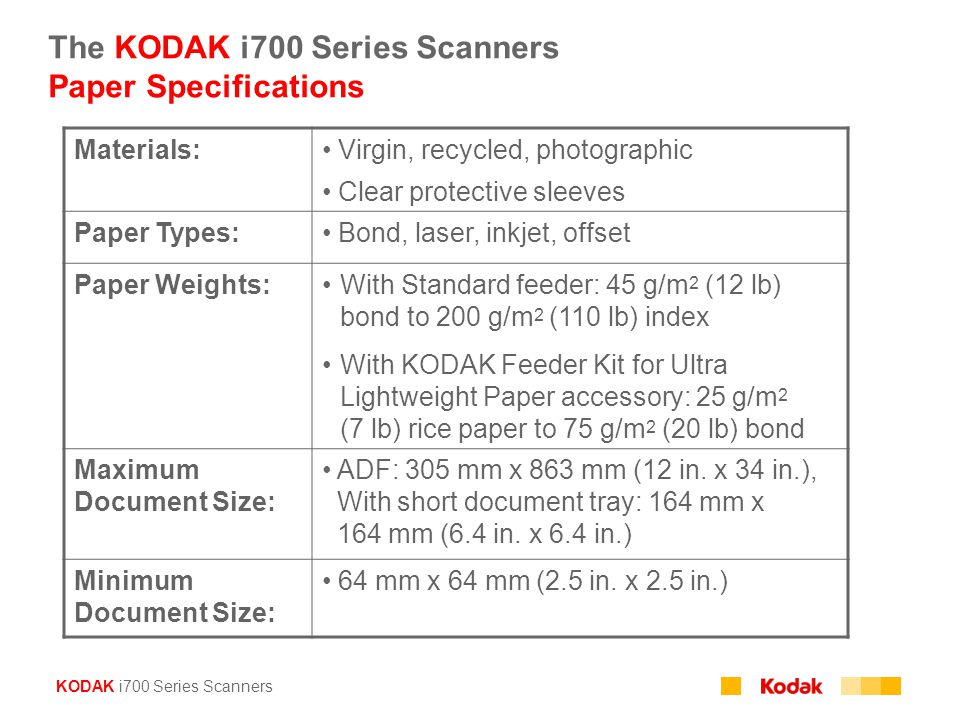 The KODAK i700 Series Scanners Paper Specifications