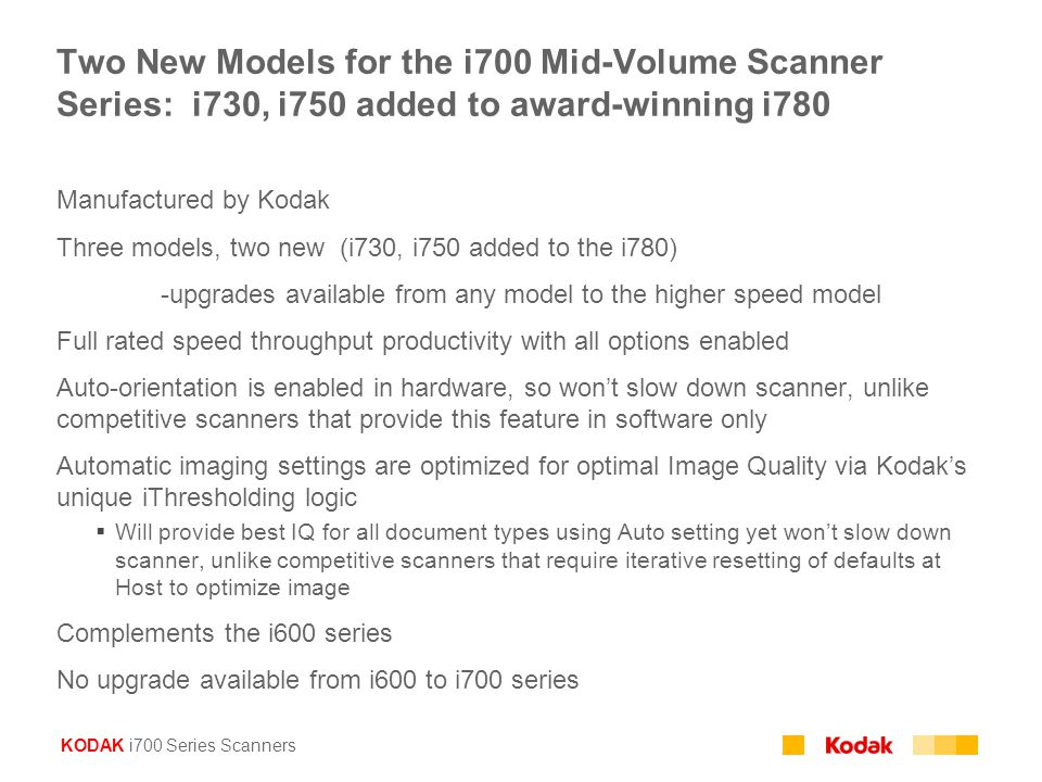 Two New Models for the i700 Mid-Volume Scanner Series: i730, i750 added to award-winning i780