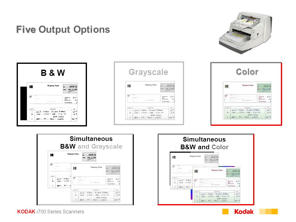 Five Output Options B & W Grayscale Color Simultaneous Simultaneous