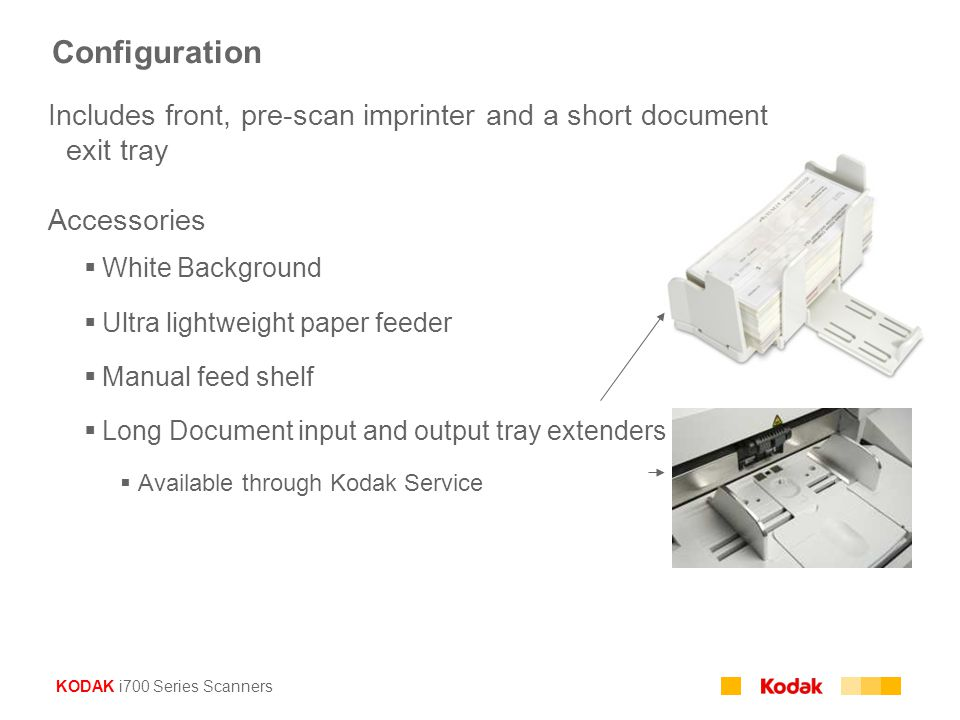 Configuration Includes front, pre-scan imprinter and a short document exit tray. Accessories. White Background.