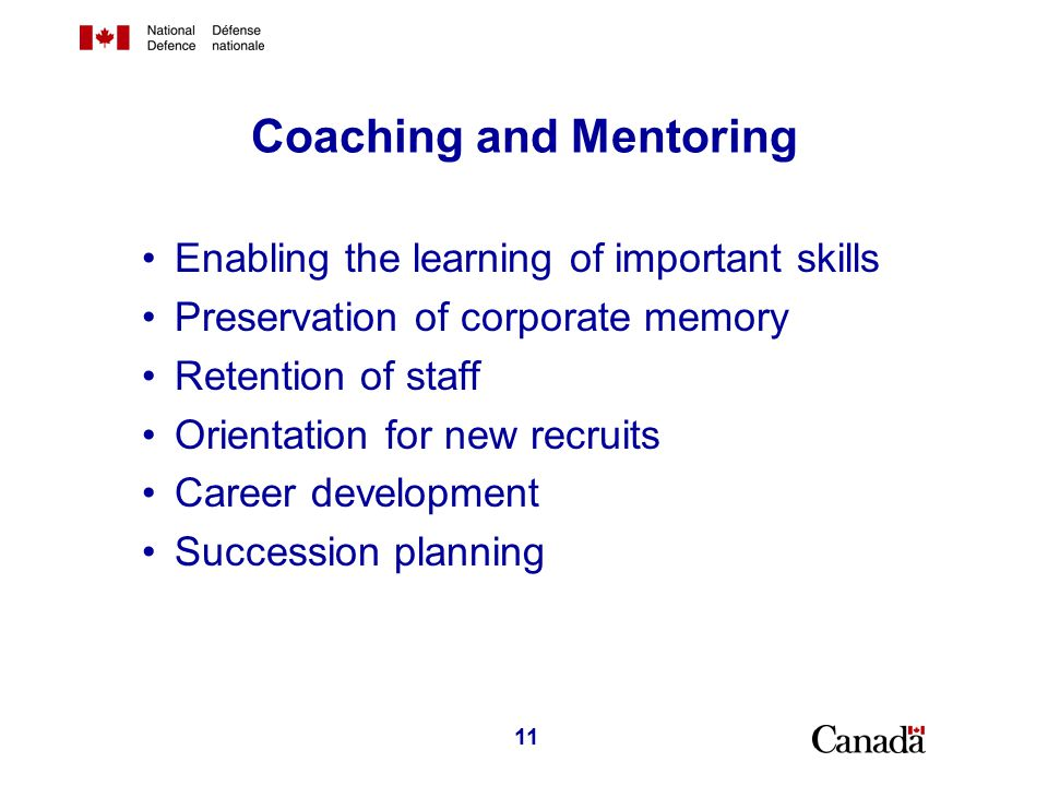 Succession Planning Common succession planning for all procurement people across all DND organizations.