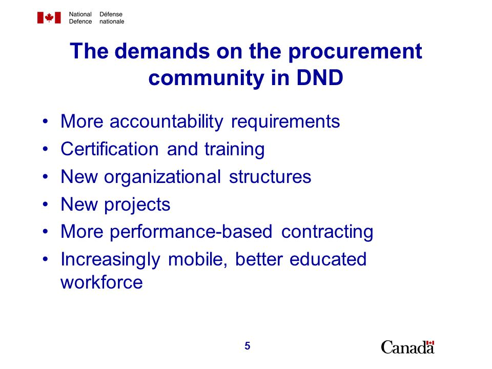 The DND Procurement Community Management Office