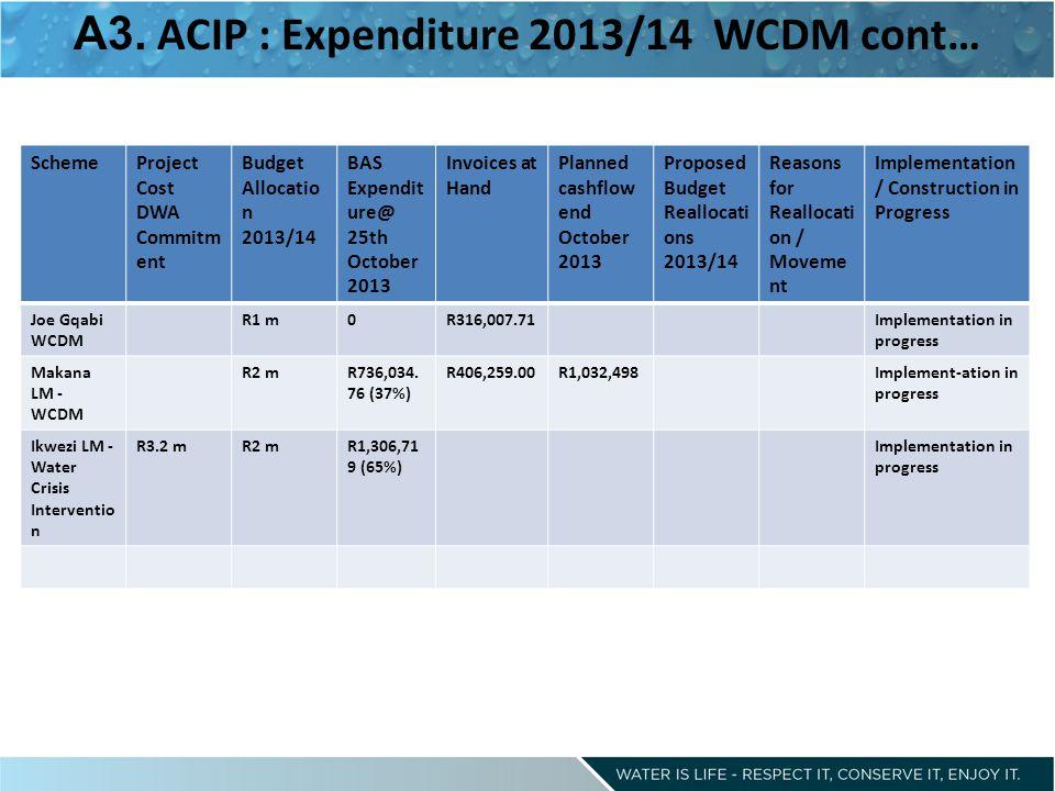 A3. ACIP : Expenditure 2013/14 WCDM cont…