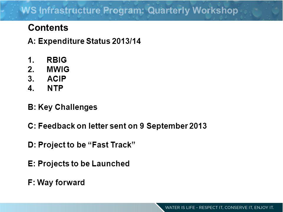 WS Infrastructure Program: Quarterly Workshop