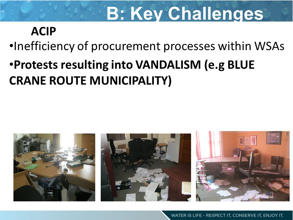 B: Key Challenges ACIP. Inefficiency of procurement processes within WSAs.