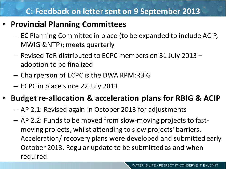 C: Feedback on letter sent on 9 September 2013