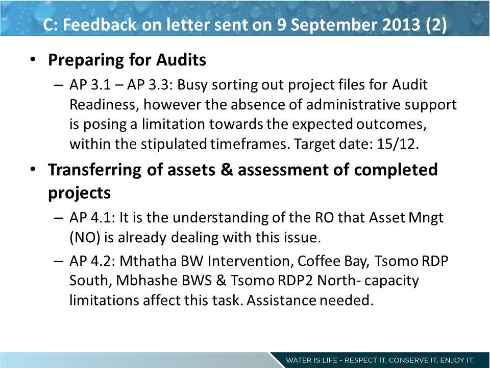 C: Feedback on letter sent on 9 September 2013 (2)