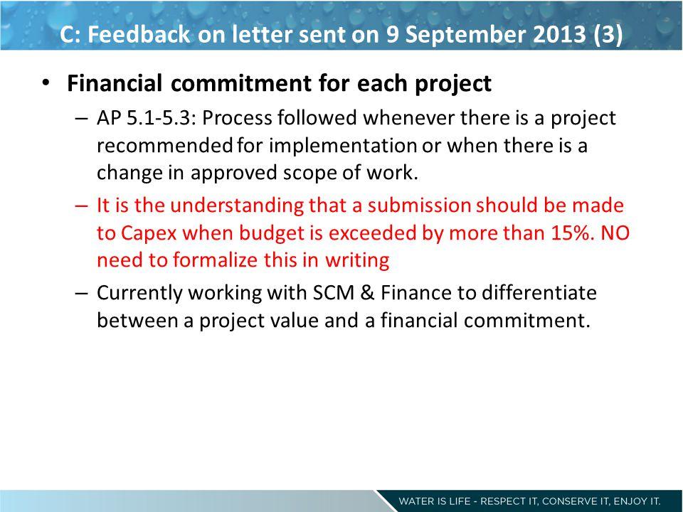 C: Feedback on letter sent on 9 September 2013 (3)