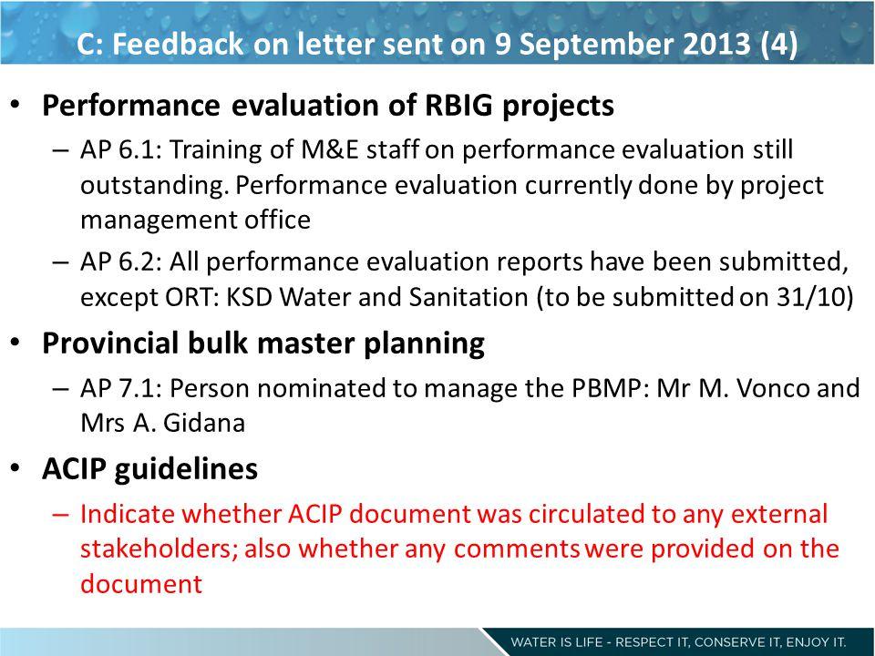 C: Feedback on letter sent on 9 September 2013 (4)