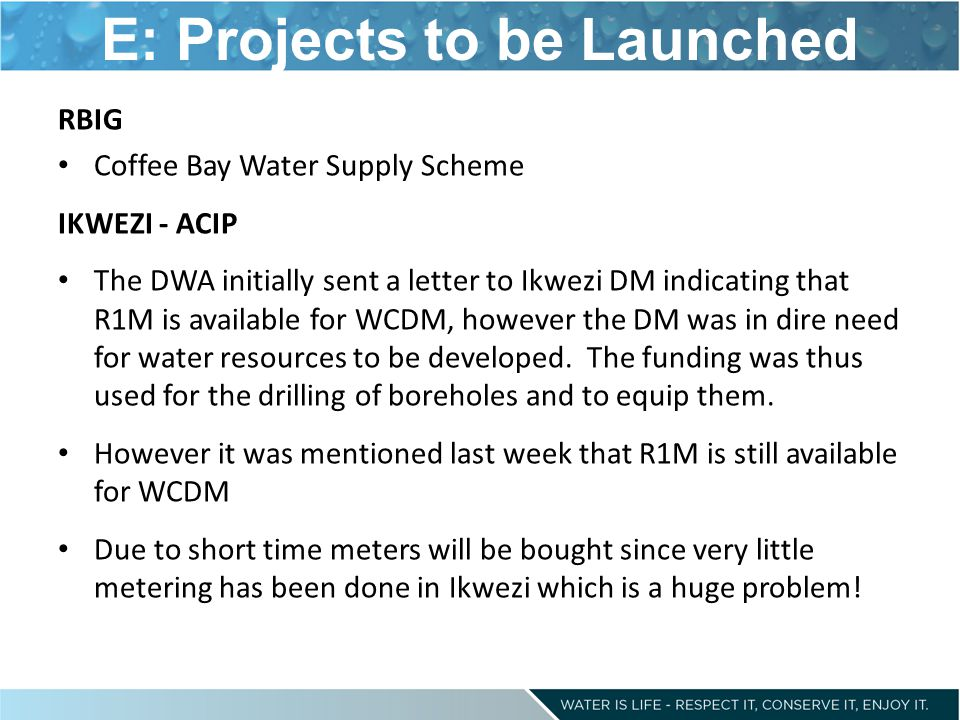 E: Projects to be Launched