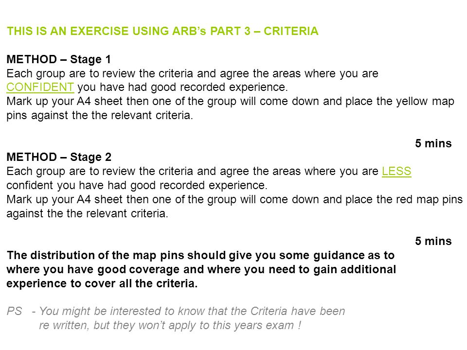 THIS IS AN EXERCISE USING ARB's PART 3 – CRITERIA