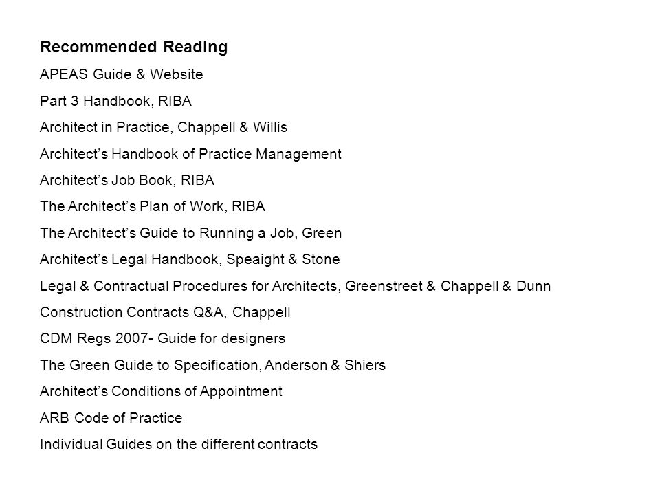 Recommended Reading APEAS Guide & Website Part 3 Handbook, RIBA