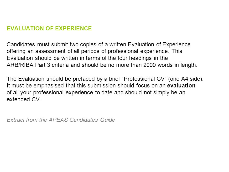 EVALUATION OF EXPERIENCE