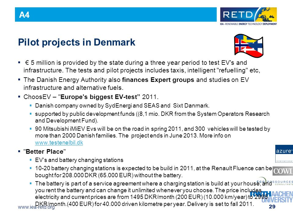 Pilot projects in Denmark