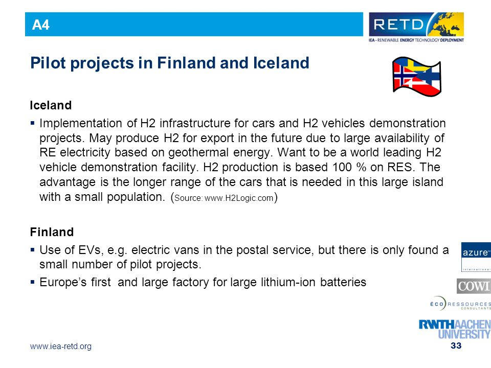 Pilot projects in Finland and Iceland