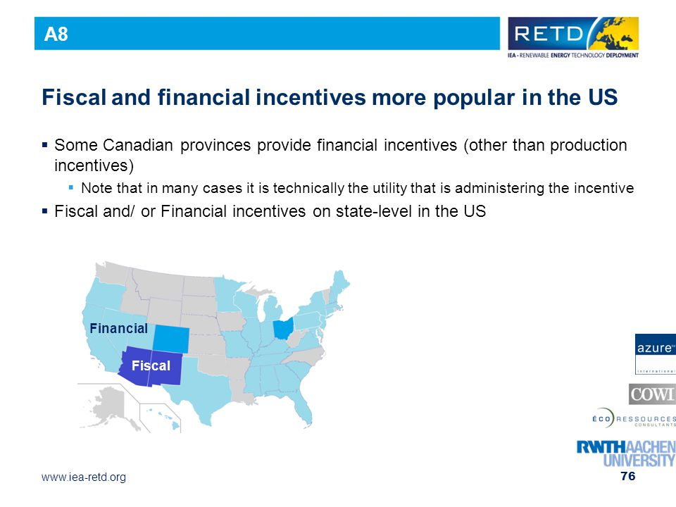 Fiscal and financial incentives more popular in the US