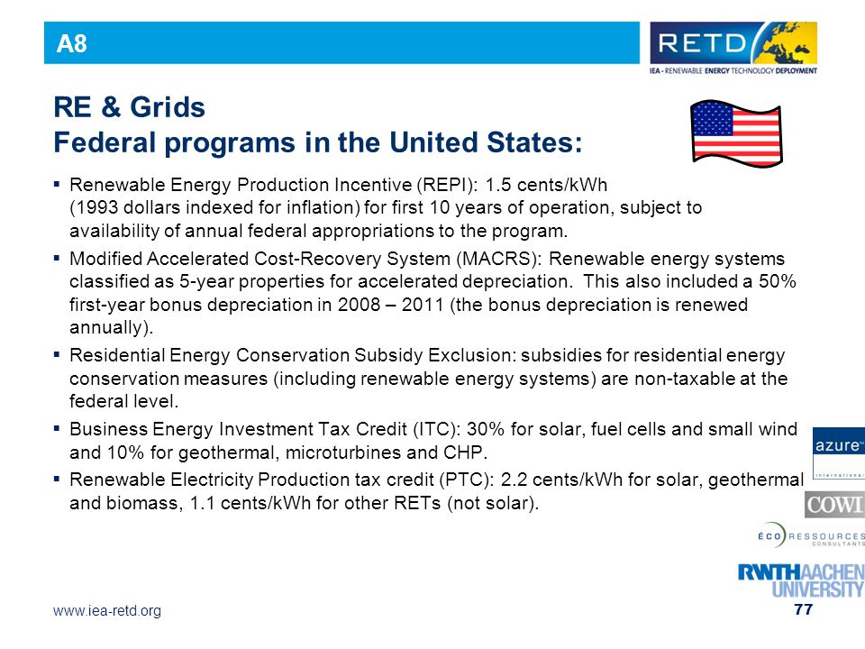 RE & Grids Federal programs in the United States: