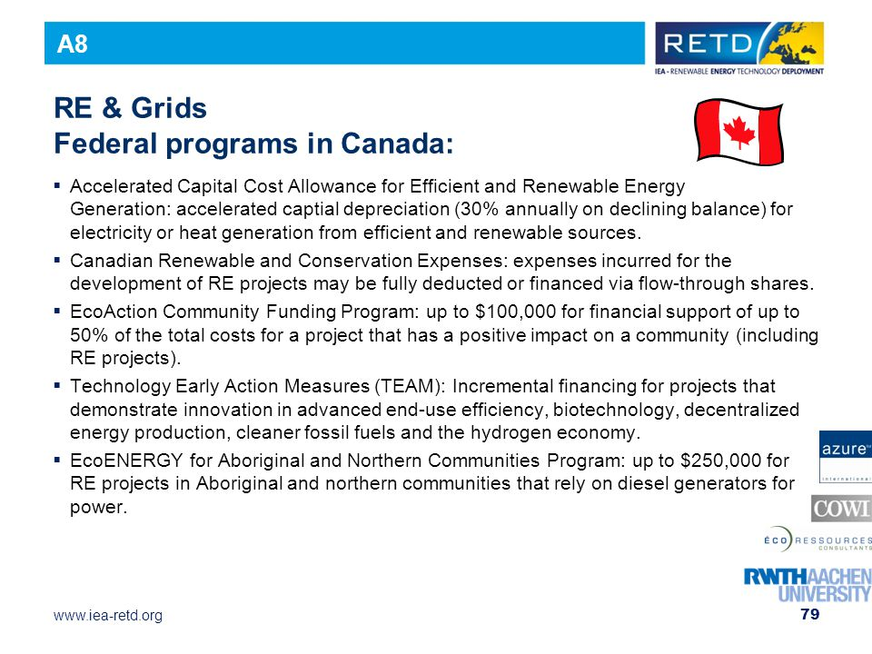 RE & Grids Federal programs in Canada: