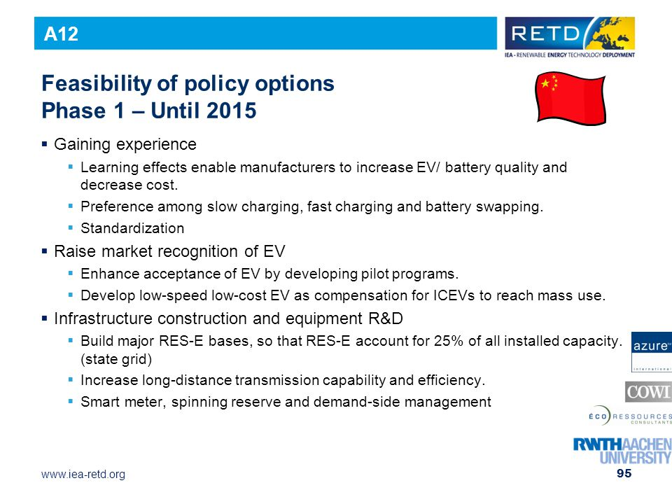 Feasibility of policy options Phase 1 – Until 2015