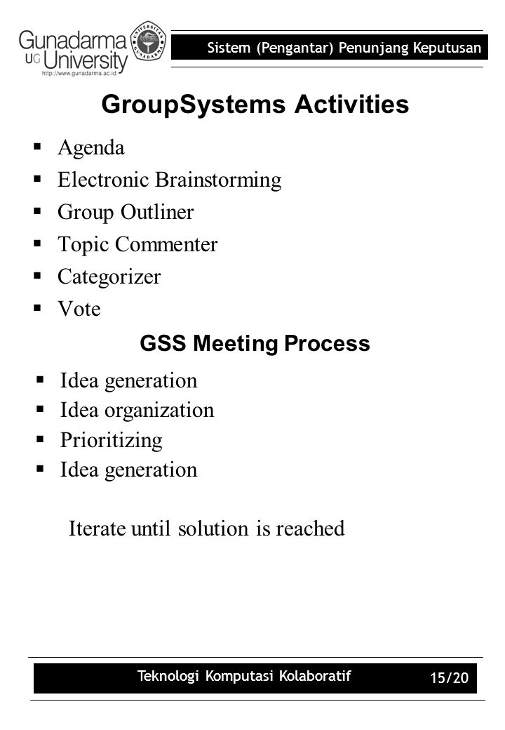 GroupSystems Activities