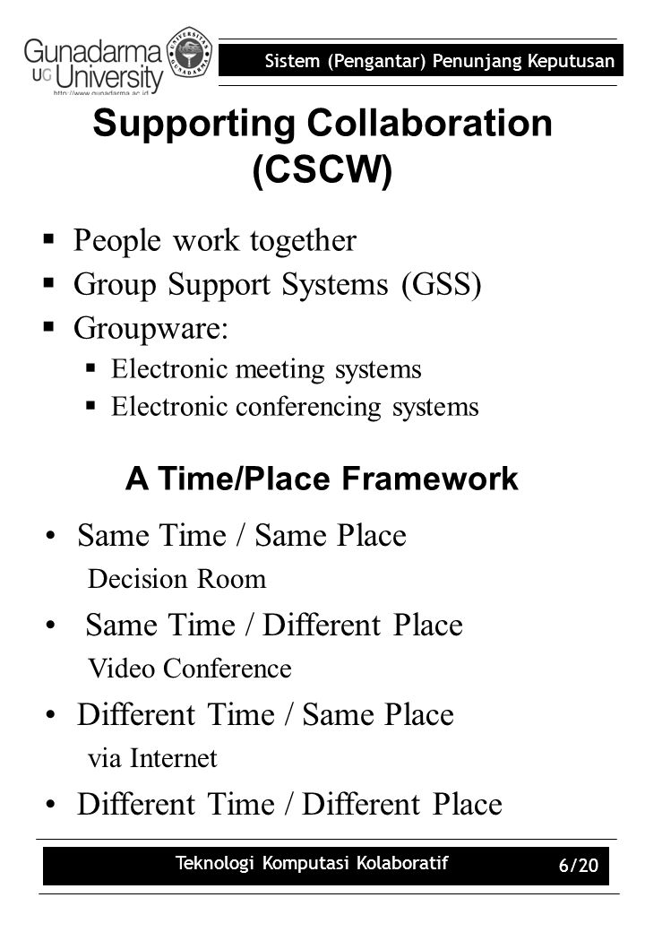 Supporting Collaboration (CSCW)