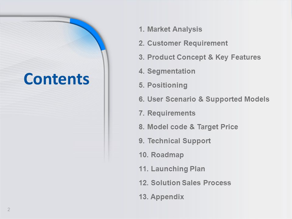 Contents Market Analysis Customer Requirement