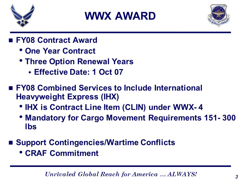 WWX PROGRAM FEATURES Express Service: