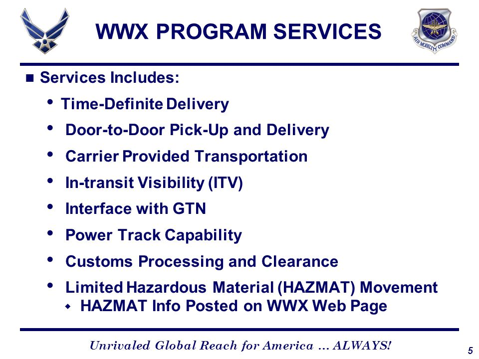 WWX PROGRAM SERVICES All Carrier Commercial Routes Available to DOD