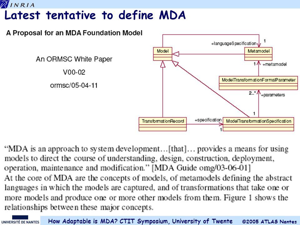 Latest tentative to define MDA
