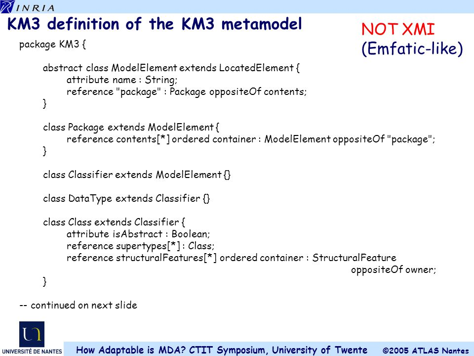 KM3 definition of the KM3 metamodel