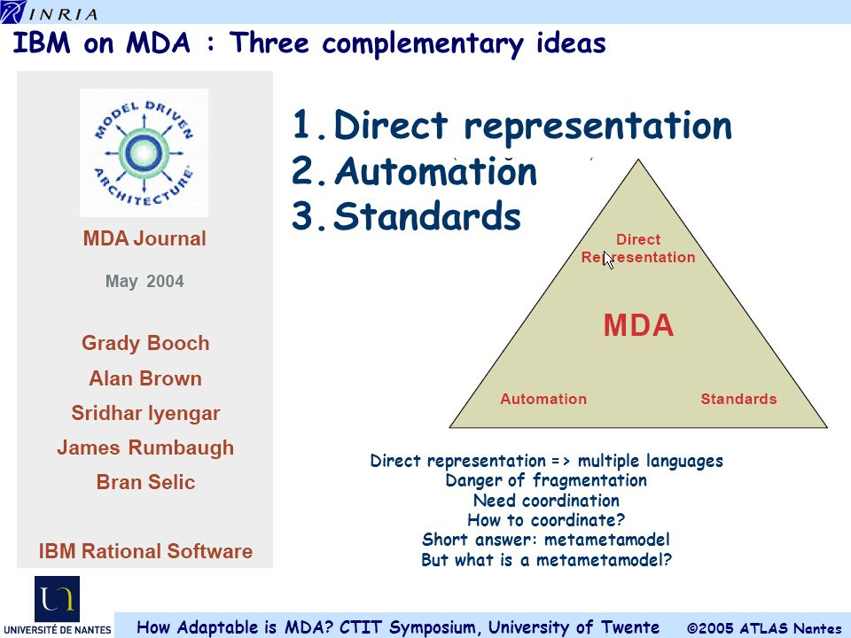 IBM on MDA : Three complementary ideas