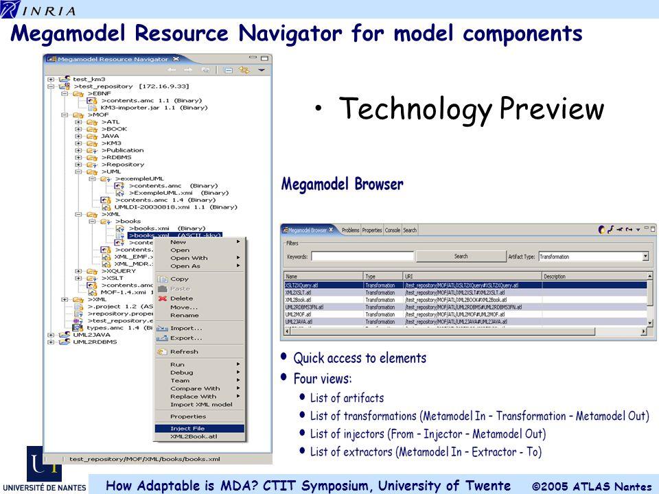 Megamodel Resource Navigator for model components