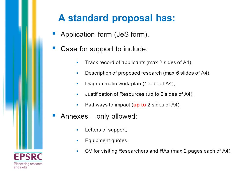 A standard proposal has: