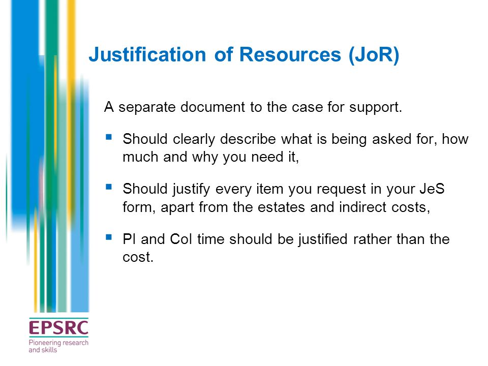 Justification of Resources (JoR)