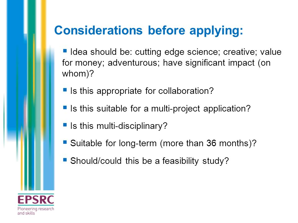 Considerations before applying:
