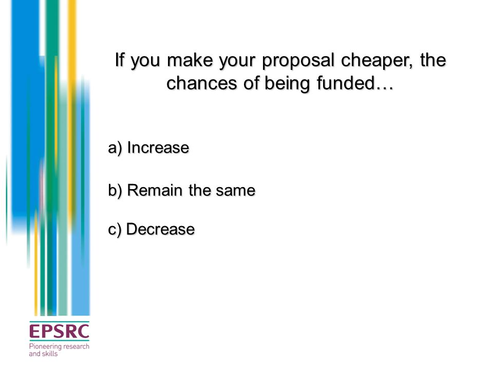 If you make your proposal cheaper, the chances of being funded…