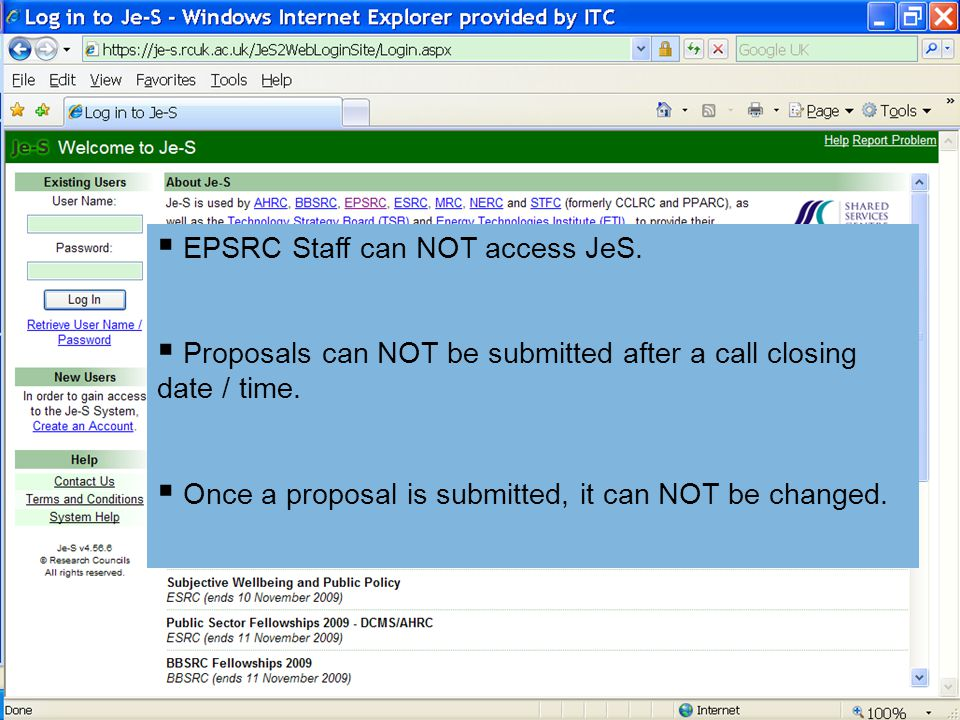EPSRC Staff can NOT access JeS.