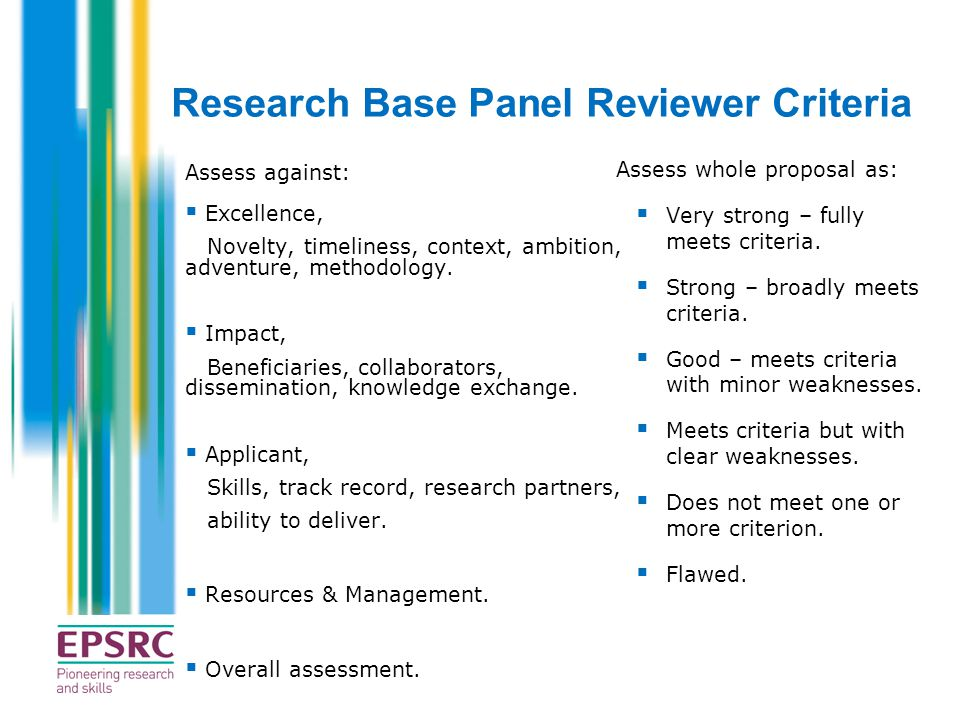 Research Base Panel Reviewer Criteria