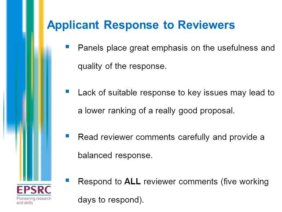 Applicant Response to Reviewers