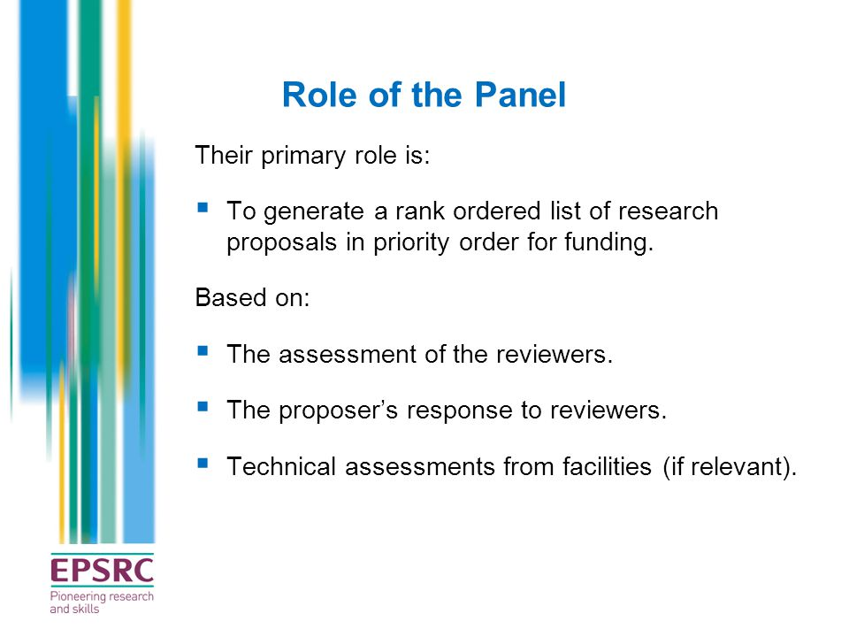 Role of the Panel Their primary role is: