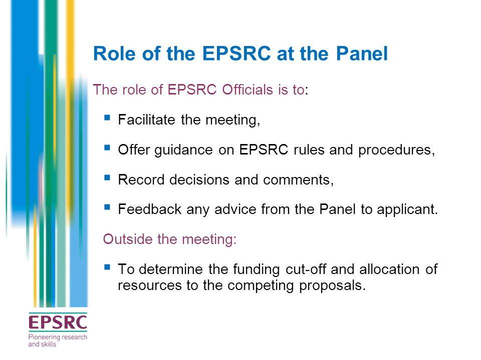 Role of the EPSRC at the Panel