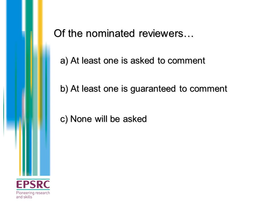 Of the nominated reviewers…