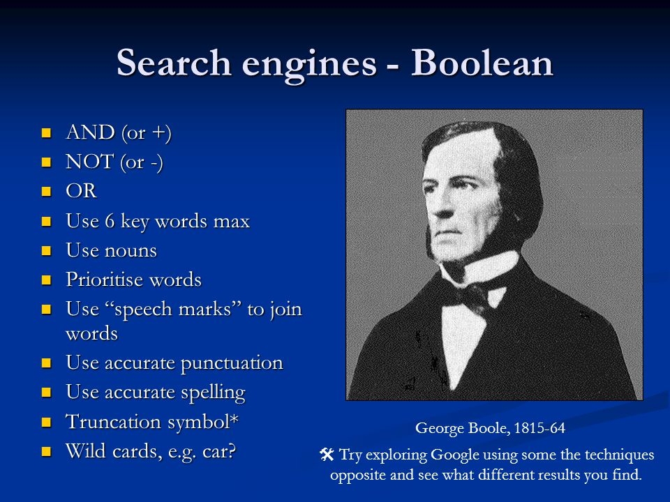 Search engines - Boolean