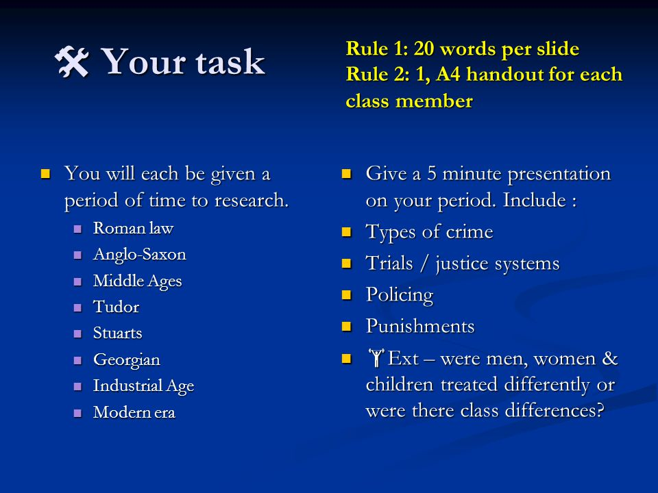  Your task Rule 1: 20 words per slide