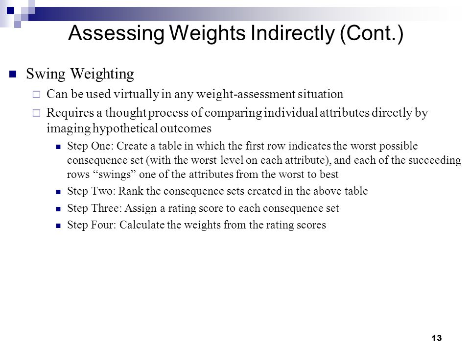Assessing Weights Indirectly (Cont.)