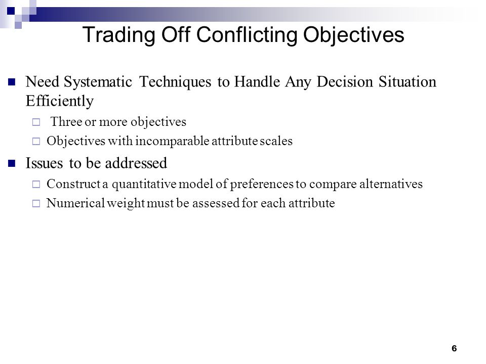 Trading Off Conflicting Objectives