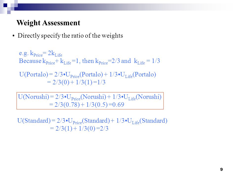 Weight Assessment Directly specify the ratio of the weights