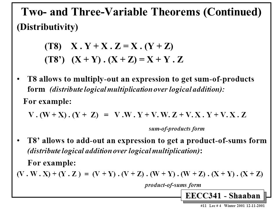 Two- and Three-Variable Theorems (Continued)
