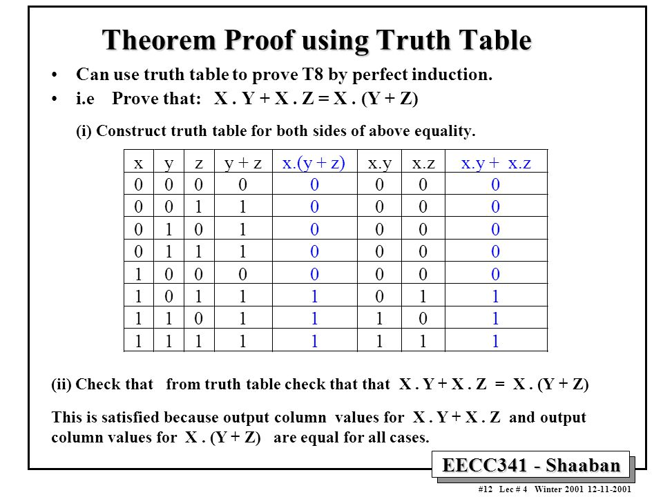 Theorem Proof using Truth Table